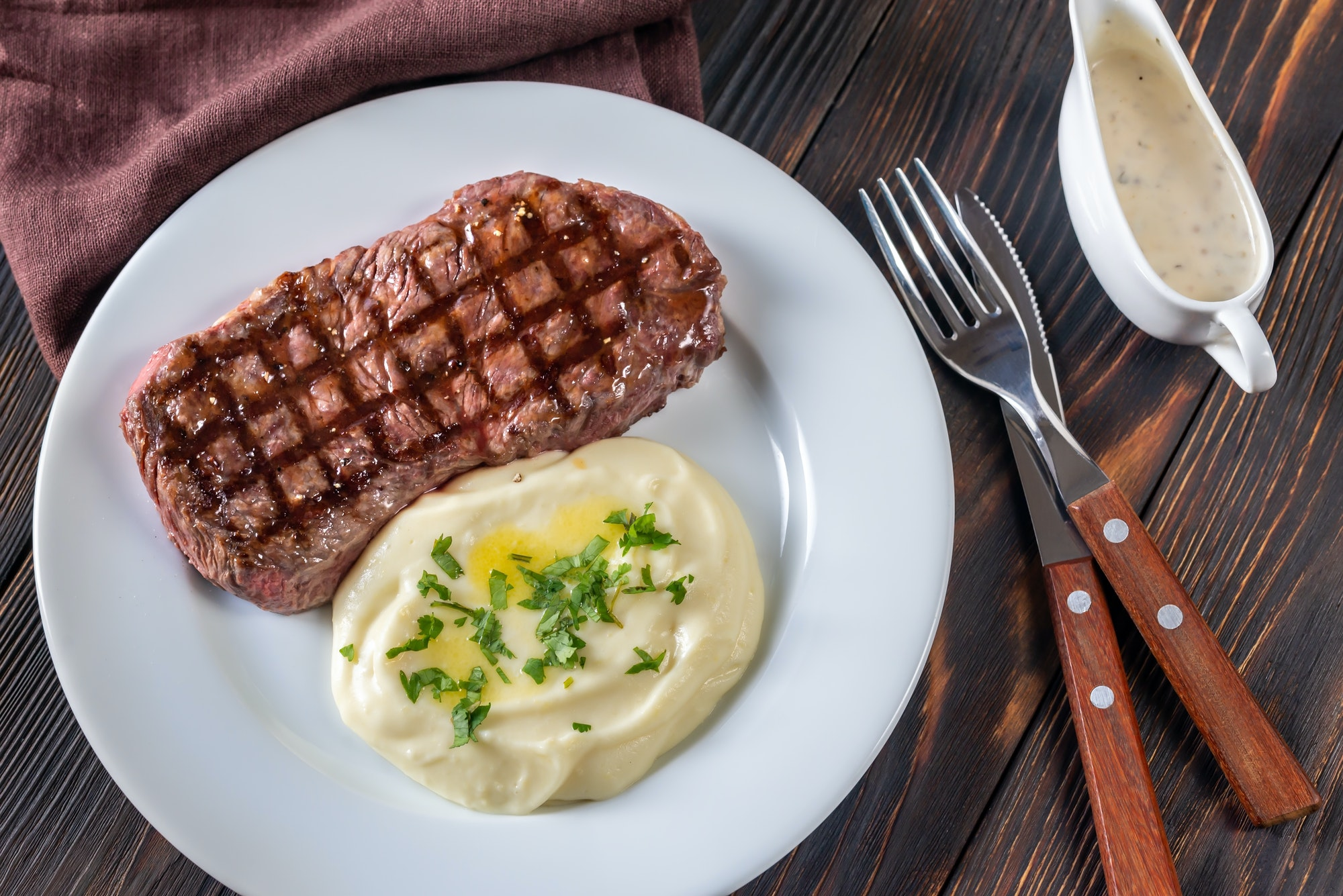 Strip steak with celery puree
